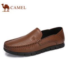 Camel/骆驼男鞋2017夏季新品商务休闲牛皮镂空皮鞋休闲男士皮鞋子
