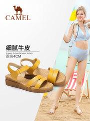 骆驼女鞋 夏季新款凉鞋 休闲舒适坡跟女凉鞋气质通勤防滑妈妈鞋女