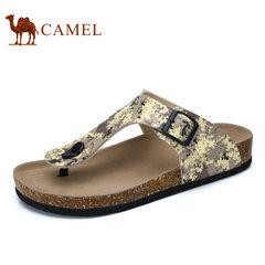 Camel/骆驼男鞋2017夏季新品迷彩时尚休闲夹脚清凉沙滩拖鞋