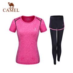 【2017新品】骆驼瑜伽服套装 女两件套短袖T恤长裤健身运动瑜伽服