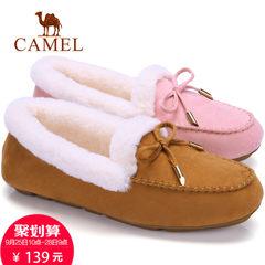 camel骆驼女鞋2017秋季平底豆豆鞋女时尚乐福鞋加绒保暖休闲单鞋