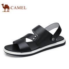 Camel/骆驼男鞋2017夏季新品凉鞋男士透气时尚休闲露趾牛皮凉鞋