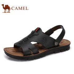 Camel/骆驼男鞋2017夏季新品凉鞋男沙滩鞋真皮休闲鞋皮凉鞋男