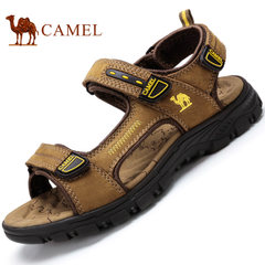 Camel/骆驼凉鞋沙滩鞋男2017夏季真皮凉鞋户外运动魔术贴休闲凉鞋