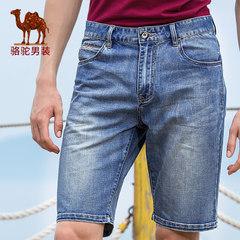 Camel/骆驼男装 2017夏季新款时尚休闲牛仔短裤水洗直筒中腰裤子