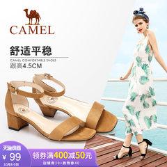 駱駝女鞋 新款粗跟涼鞋女時尚簡約韓版學生高跟鞋 一字扣帶羅馬女