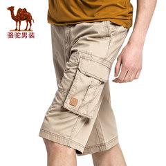 Camel/骆驼男装 2017年夏季新款无弹中腰宽松纯色六分裤休闲短裤