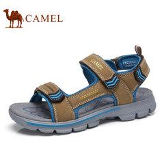 Camel/骆驼男鞋2017夏季新品户外凉鞋沙滩鞋男士透气牛皮露趾凉鞋