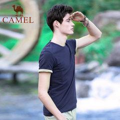 Camel/骆驼户外  2017年夏季新款微弹纯色花纱棉质时尚短袖T恤衫