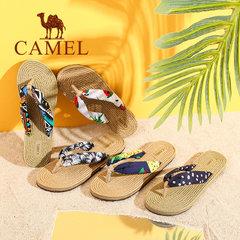 Camel/骆驼女鞋 2017夏季新款甜美碎花人字拖女 沙滩防滑优雅拖鞋