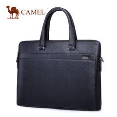 Camel骆驼男包男士商务手提包牛皮休闲单肩斜挎包包横款公文包男