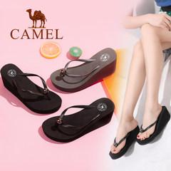 Camel/骆驼女鞋 夏季新品时尚简约百搭人字拖女 防滑坡跟拖鞋