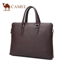 Camel/骆驼男包2017新款男士真皮手提包休闲单肩斜挎包牛皮公文包