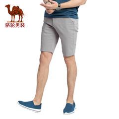 Camel/骆驼男装 2017年夏季新款修身中腰微弹纯色休闲短裤五分裤