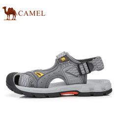 Camel/骆驼男鞋2017夏季新品户外休闲透气沙滩鞋户外露趾皮凉鞋