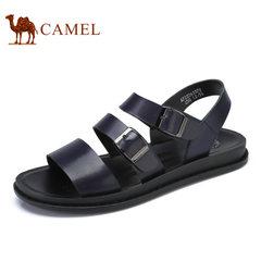 Camel/骆驼男鞋2017夏季新品时尚休闲牛皮凉鞋清凉沙滩凉鞋男