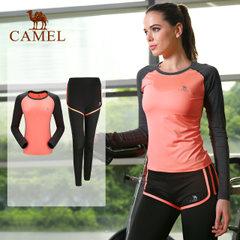 CAMEL/駱駝瑜伽服套裝兩件套瑜珈服上衣長袖假兩件褲裝跑步運動服