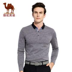 骆驼T恤 秋装韩版潮流迷彩印花男士商务休闲长袖T恤衣服