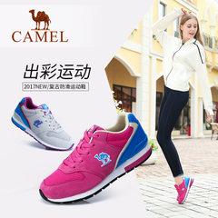 Camel/骆驼女鞋复古防滑运动鞋2017秋季新款网布拼接休闲跑步鞋女