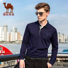 骆驼男士长袖t恤潮 秋装翻领纯色商务休闲体恤polo衫上衣
