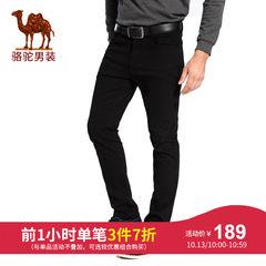 骆驼男装 秋冬弹力青年休闲裤男商务修身直筒纯色长裤子