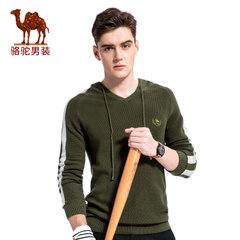 Camel/骆驼男装 2017新款时尚V领带帽男士毛衣套头休闲男上衣