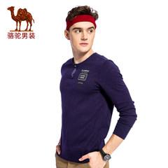 骆驼男装 秋季圆领修身套头男士T恤时尚男上衣休闲男长袖