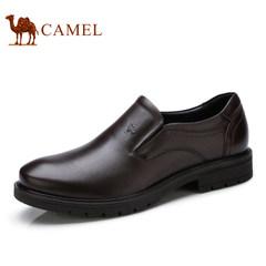 Camel/骆驼男鞋2017秋季新款商务休闲低帮套脚真皮套脚皮鞋子男
