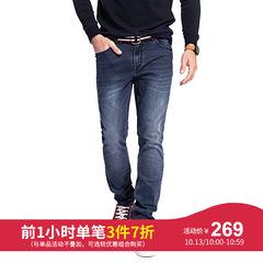 骆驼男装 秋季直筒水洗男士牛仔裤时尚中腰长裤男