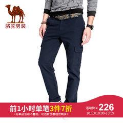 骆驼男装 秋冬直筒宽松男士多袋工装休闲裤男长裤