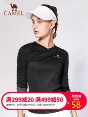 骆驼运动T恤男女款弹力长袖圆领紧身上衣透气速干跑步训练健身服