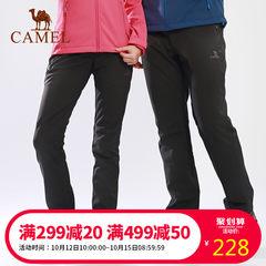 CAMEL骆驼户外情侣冲锋软壳裤 双层耐磨裤脚防风保暖男女款软壳裤