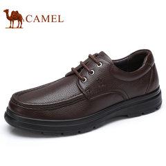 Camel/骆驼男鞋2017秋季新款商务休闲鞋系带舒适耐磨真皮男士皮鞋