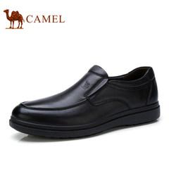 Camel/骆驼男鞋2017新款低帮皮鞋商务休闲套脚耐磨真皮休闲皮鞋子