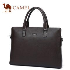 Camel骆驼男包2017新款男士真皮手提包商务单肩斜挎公文包男横款
