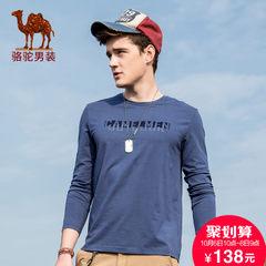 Camel/骆驼男t恤长袖秋衣男外穿套头修身帅气上衣时尚圆领休闲T恤