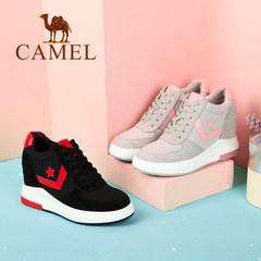 Camel/骆驼女鞋 2017秋季新品时尚拼接高帮鞋 个性舒适内增高鞋