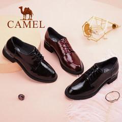 Camel/骆驼女鞋 2017秋季新品时尚简约英伦风漆皮系带方跟单鞋