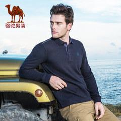 骆驼男装 秋季男士翻领商务长袖t恤纯色休闲打底衫上衣服