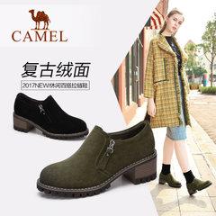 Camel/骆驼女鞋2017秋季新款简约复古绒面短款单鞋休闲百搭拉链鞋