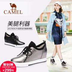 2017新款 骆驼女鞋秋季黑色内增高鞋女韩版时尚休闲鞋厚底单鞋