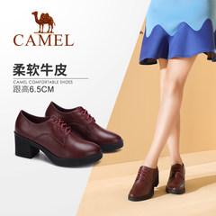 Camel/骆驼女鞋 2017秋季新品简约英伦高跟鞋 百搭时尚系带单鞋