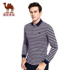 骆驼男装 秋季绣标门筒领男士T恤商务休闲条纹男长袖