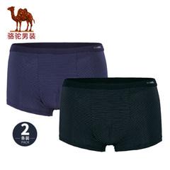骆驼男装 秋季简约纯色男士内裤舒适透气男平角裤2条装