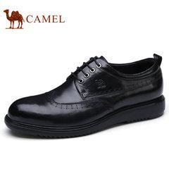 Camel/骆驼男鞋2017秋季新款时尚休闲皮鞋系带皮鞋抓纹牛皮鞋子