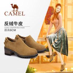 Camel/骆驼女鞋 2017秋季新品时尚花边粗跟鞋 复古英伦风反绒单鞋