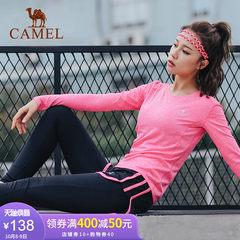 骆驼瑜伽运动套装 新款针织长袖T恤女长裤跑步减肥瘦身健身瑜伽服