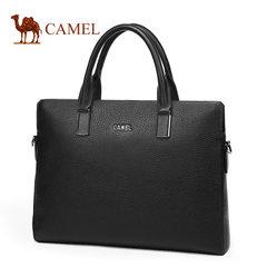 Camel骆驼男包新款男士牛皮手提包商务单肩斜挎电脑公文包男横款