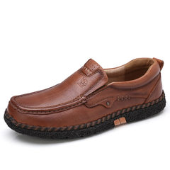 骆驼男鞋 秋季男士日常休闲舒适耐折缓震轻松套脚通勤皮鞋爸爸鞋