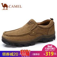 Camel/骆驼男鞋套脚皮鞋男士秋季新品户外休闲低帮美式磨砂牛皮鞋